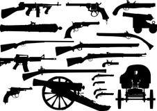 Σύνολο όπλων πυροβόλων διανυσματική απεικόνιση