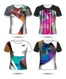 Σύνολο ύφους μπλουζών προτύπων του Τζέρσεϋ ποδοσφαίρου ή ποδοσφαίρου, σχέδιο Στοκ Εικόνα