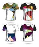Σύνολο ύφους μπλουζών προτύπων του Τζέρσεϋ ποδοσφαίρου ή ποδοσφαίρου, σχέδιο Στοκ Εικόνες