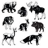 Σύνολο δασικού μαύρου λευκού ζώων Στοκ Εικόνες