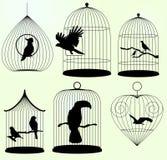 Σύνολο διανυσματικών birdscages Στοκ Εικόνες