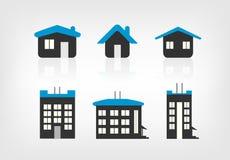 Σύνολο 6 παραλλαγών εικονιδίων σπιτιών Στοκ Εικόνες
