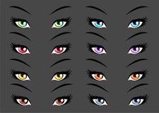 Σύνολο anime, μάτια ύφους manga ελεύθερη απεικόνιση δικαιώματος