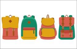 Σύνολο backpack/επίπεδων εικονιδίων Στοκ φωτογραφία με δικαίωμα ελεύθερης χρήσης