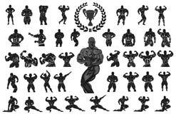 Σύνολο bodybuilders επίσης corel σύρετε το διάνυσμα απεικόνισης ελεύθερη απεικόνιση δικαιώματος