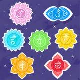 Σύνολο chakras Περισυλλογή και σπιρίτσουαλ συμβόλων, βουδισμός γιόγκας και ενέργεια r ελεύθερη απεικόνιση δικαιώματος