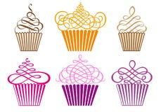 Σύνολο cupcakes, διάνυσμα Στοκ Εικόνα