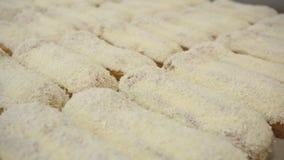Σύνολο eclairs με μια κρέμα και ολοκληρωμένος με την τήξη σοκολάτας Κατασκευή των γλυκών baguettes επιδορπίων r απόθεμα βίντεο