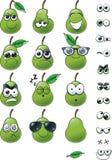 Σύνολο Emoticon αχλαδιών κινούμενων σχεδίων στοκ φωτογραφία με δικαίωμα ελεύθερης χρήσης