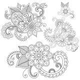 Σύνολο floral διακοσμήσεων doodle Στοκ Εικόνα