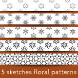 Σύνολο floral προτύπων σκίτσων Στοκ Φωτογραφία