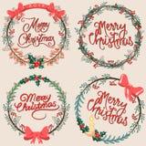 Σύνολο floral στοιχείων Χριστουγέννων ελεύθερη απεικόνιση δικαιώματος