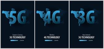 Σύνολο 5G, 4G και 3G νέου ασύρματου Διαδικτύου Έμβλημα για τα κοινωνικά μέσα επίσης corel σύρετε το διάνυσμα απεικόνισης Ελεύθερη απεικόνιση δικαιώματος