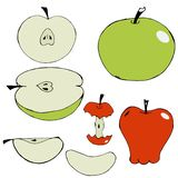 Σύνολο hand-drawn χρωματισμένων μήλων ελεύθερη απεικόνιση δικαιώματος