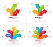 Σύνολο infographics επιλογών 3-6 με τα διακλαδιμένος κυκλικά βέλη ελεύθερη απεικόνιση δικαιώματος