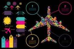 σύνολο ingographics στοιχείων αεροπορίας Στοκ Φωτογραφίες
