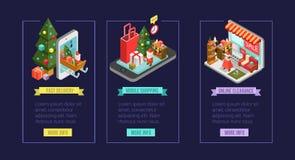 Σύνολο isometric εικονιδίων αγορών Χριστουγέννων Διαδίκτυο που ψωνίζει μέσα διανυσματική απεικόνιση