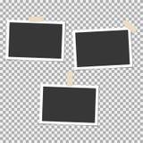 Σύνολο Polaroid πλαισίου φωτογραφιών με την κολλώδη ταινία στο γκρίζο υπόβαθρο Πρότυπο, κενό για την καθιερώνουσα τη μόδα φωτογρα Απεικόνιση αποθεμάτων