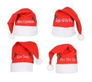 σύνολο santa καπέλων Στοκ εικόνες με δικαίωμα ελεύθερης χρήσης