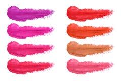 Σύνολο smudges κραγιόν που απομονώνεται στο άσπρο υπόβαθρο Λεκιασμένο makeup δείγμα στοκ φωτογραφία με δικαίωμα ελεύθερης χρήσης