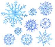 Σύνολο snowflakes watercolor Απεικόνιση Χριστουγέννων στη λευκιά ΤΣΕ Στοκ Φωτογραφίες