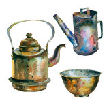 Σύνολο Watercolor εκλεκτής ποιότητας ουσίας Στοκ Φωτογραφία
