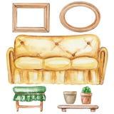 Σύνολο Watercolor επίπλων απεικόνιση αποθεμάτων