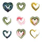 Σύνολο Watercolor και αφηρημένων καρδιών Στοκ Εικόνες
