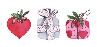 Σύνολο Watercolor τριών κιβωτίων δώρων στοκ εικόνες