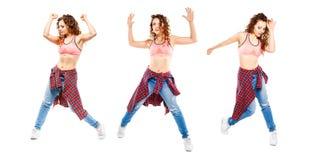 Σύνολο zumba χορού τριών κοριτσιών που απομονώνεται στο λευκό Στοκ Εικόνες