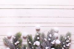 Σύνορα από το δέντρο γουνών κλάδων στο άσπρο ξύλινο υπόβαθρο Στοκ Φωτογραφίες