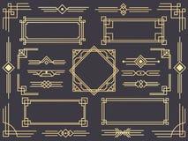 Σύνορα γραμμών deco τέχνης Σύγχρονα αραβικά χρυσά πλαίσια, διακοσμητικά σύνορα γραμμών και γεωμετρικό χρυσό σχέδιο πλαισίων ετικε ελεύθερη απεικόνιση δικαιώματος