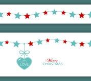 Σύνορα και καρδιά αστεριών Χριστουγέννων το δώρο της αγάπης απεικόνιση αποθεμάτων