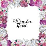 Σύνορα λουλουδιών Watercolor Στοκ εικόνες με δικαίωμα ελεύθερης χρήσης