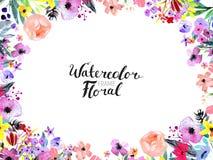 Σύνορα λουλουδιών Watercolor Στοκ φωτογραφίες με δικαίωμα ελεύθερης χρήσης