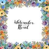 Σύνορα λουλουδιών Watercolor Στοκ Φωτογραφίες