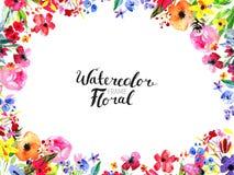 Σύνορα λουλουδιών Watercolor Στοκ Εικόνα