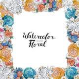 Σύνορα λουλουδιών Watercolor Στοκ φωτογραφία με δικαίωμα ελεύθερης χρήσης