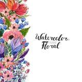Σύνορα λουλουδιών Watercolor Στοκ Φωτογραφία
