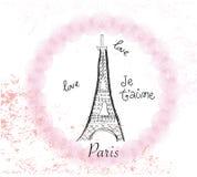 σύνορα πύργων του Άιφελ Σχέδιο Παρίσι αφισών, jet'aime, διανυσματική απεικόνιση επιστολών αγάπης συρμένη χέρι ελεύθερη απεικόνιση δικαιώματος