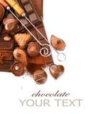 Σύνορα σοκολατών που απομονώνονται στο λευκό στοκ εικόνα με δικαίωμα ελεύθερης χρήσης