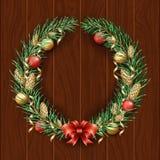 Σύνορα στεφανιών Χριστουγέννων Πλαίσιο του πράσινου πεύκου Χαρούμενα Χριστούγεννα και καλή χρονιά 2019 Κλάδοι ενός χριστουγεννιάτ διανυσματική απεικόνιση