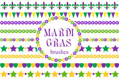 Σύνορα της Mardi Gras καθορισμένα Χαριτωμένες χάντρες, fleur de lis διακοσμήσεις, γιρλάντα διανυσματική απεικόνιση