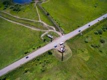 Σύνορα του Tatar και από το $λ* ψασχκηρ κράτους εναέρια όψη Στοκ φωτογραφία με δικαίωμα ελεύθερης χρήσης