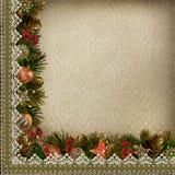Σύνορα των διακοσμήσεων Χριστουγέννων με τη δαντέλλα στο εκλεκτής ποιότητας υπόβαθρο Στοκ εικόνες με δικαίωμα ελεύθερης χρήσης