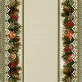 Σύνορα των διακοσμήσεων Χριστουγέννων με τη δαντέλλα στο εκλεκτής ποιότητας υπόβαθρο Στοκ εικόνα με δικαίωμα ελεύθερης χρήσης