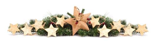 Σύνορα Χριστουγέννων με τους κλάδους και τις διακοσμήσεις αστεριών στο λευκό Στοκ Φωτογραφία