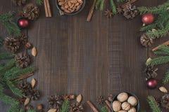 Σύνορα Χριστουγέννων με το συστατικό για το ψήσιμο με το διάστημα αντιγράφων νέο έτος ανασκόπησης στοκ φωτογραφίες με δικαίωμα ελεύθερης χρήσης