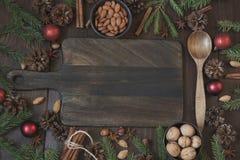 Σύνορα Χριστουγέννων με το συστατικό για το ψήσιμο με το διάστημα αντιγράφων νέο έτος ανασκόπησης στοκ φωτογραφία με δικαίωμα ελεύθερης χρήσης