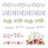 σύνορα floral Σύνολο εκλεκτής ποιότητας λουλουδιών watercolor διανυσματική απεικόνιση